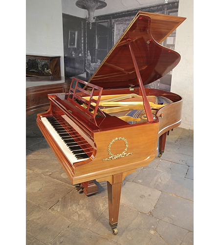 A 1914, Bluthner Grand Piano For Sale with a Walnut Case and Open Work Music Desk. Cabinet Features Ormolu Decoration of Laurel Wreaths on Piano Cheeks
