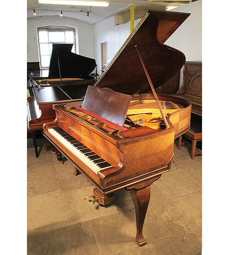 A 1925, Gaveau Baby Grand Piano with a Quartered, Walnut Case and Cabriole Legs
