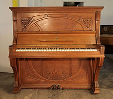 Art Nouveau Style, Ibach upright piano with a carved, oak case