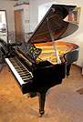 A 1970, Steinway Model O grand piano with a black case and spade legs. Piano has an unusual shaped piano lyre and music desk