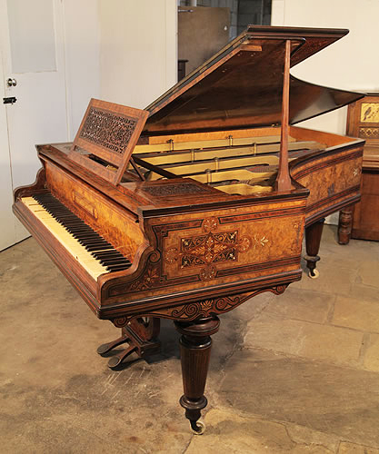An 1860 - 1870, Cramer Grand Piano For Sale with a Beautifully, Inlaid Burr Walnut Case