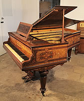 A Cramer grand piano for sale with a beautifully, inlaid burr walnut case. Cabinet features inlay of rosettes, anthemions and banding in a variety of woods
