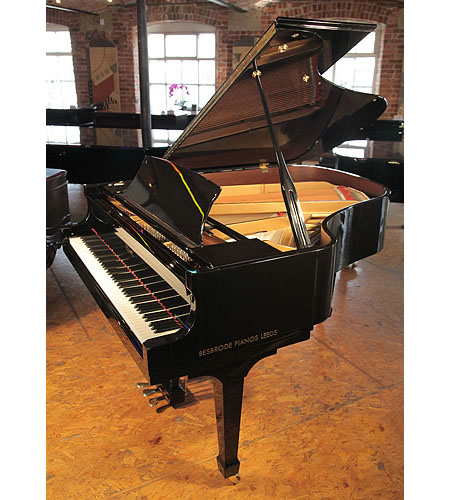 A pre-owned, 2008, Essex EGP173 grand piano with a black case and polyester finish.