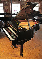 A pre-owned, 2008, Essex EGP173 grand piano with a black case and polyester finish
