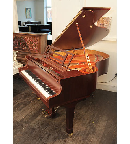 A brand new, Feurich Model 178 Professional grand piano with a satin, walnut case and fitted iQ Pianodisc player system
