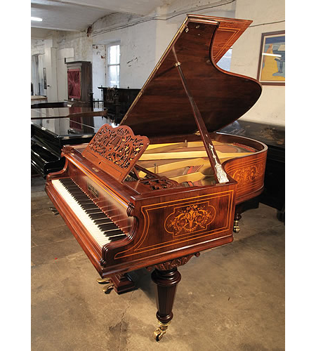 A Gebruder Knake Grand Piano For Sale with a Beautifully, Inlaid Rosewood Case.