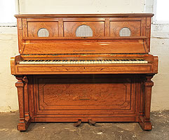 An 1878, Hopkinson upright piano for sale with a neoclassical style, satinwood case. Cabinet features intricate inlay of swags, urns, vases, acanthus, arabesques and griffins
