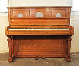 Piano for sale. An 1878, Hopkinson upright piano for sale with a neoclassical style, satinwood case. Cabinet features intricate inlay of swags, urns, vases, acanthus, arabesques and griffins