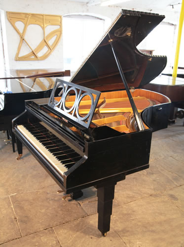 Ibach grand piano for sale with a Bauhaus influenced, black case.