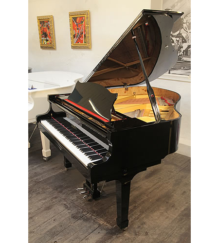 A brand new Leodis Model 166 baby grand piano with a black case and polyester finish.