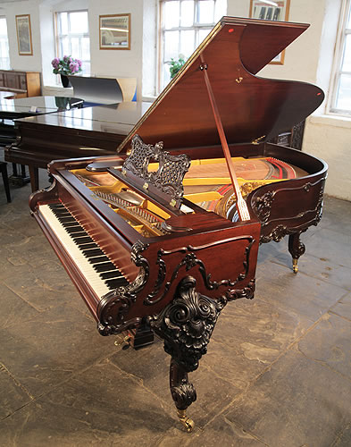 A Rococo Style, 1911, Schiedmayer Model 3 Grand Piano For Sale with an Ornately Carved, Mahogany Case and Cabriole Legs