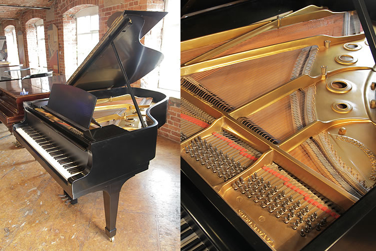 A 1942, Steinway Model A grand piano with a black case and spade legs