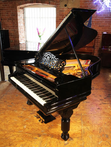 An 1887, Steinway Model A Grand piano for sale with a black case, filigree music desk and fluted, barrel legs
