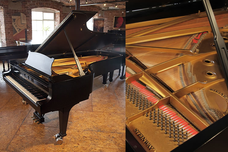 A 1952, Steinway Model D concert grand piano with a satin, black case. This beautiful instrument is the preferred choice of the world's greatest pianists.