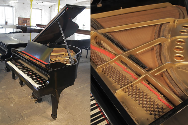 A 1951, Steinway Model S grand piano with a black case and spade legs