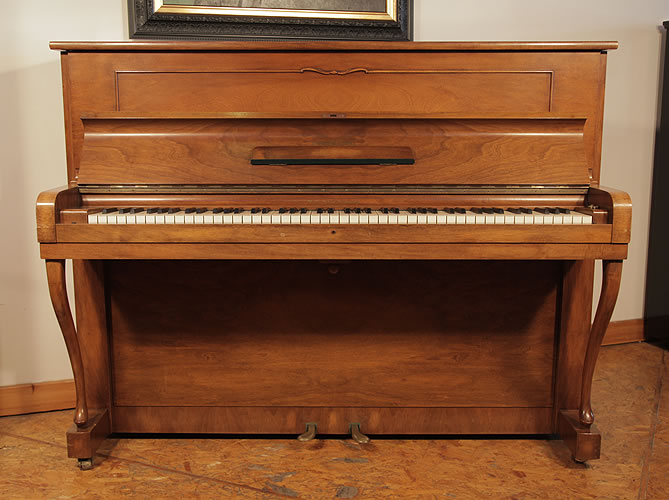 Steinway Model Z upright Piano for sale with a mirrored, walnut case.