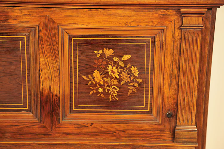 Steinway inlaid panel detail of foliage and flowers