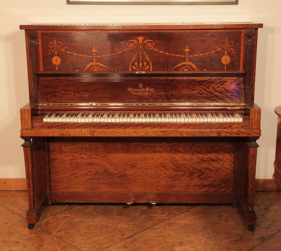 A 1906, Steinway Vertegrand Upright Piano For Sale with a Fiddleback Mahogany Case Inlaid with Swags and Scrolling Foliage