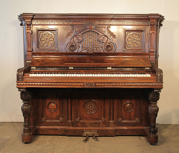 Weber upright Piano for sale with an ornately carved rosewood case.