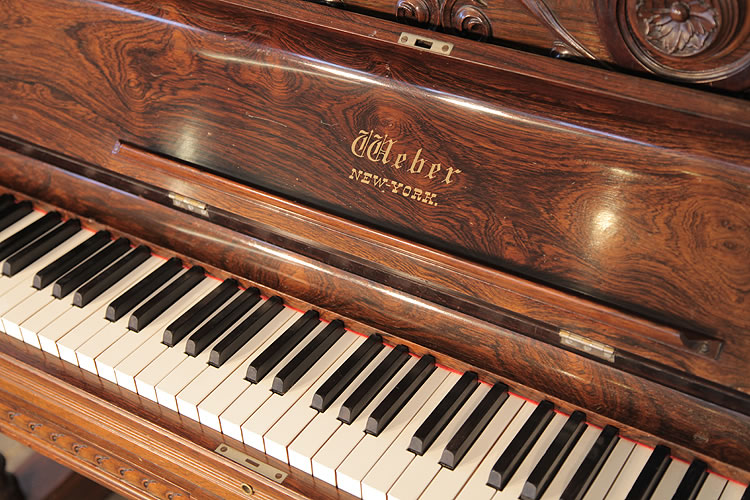 An 1883 Weber Upright Piano For Sale With An Ornately