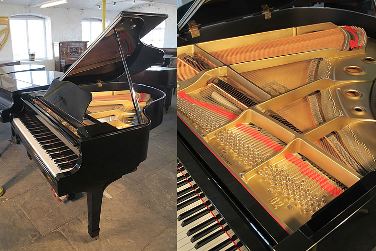 A 1981, Yamaha G2 grand piano for sale with a black case and polyester finish