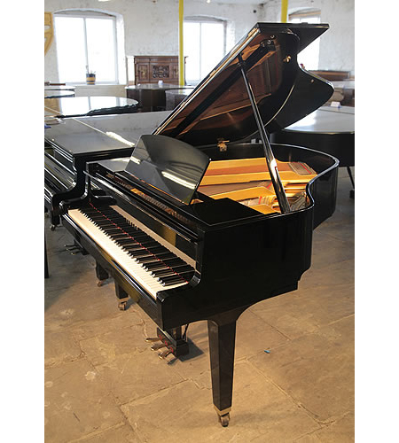 A 1986, Yamaha GH1 grand piano for sale with a black case and polyester finish