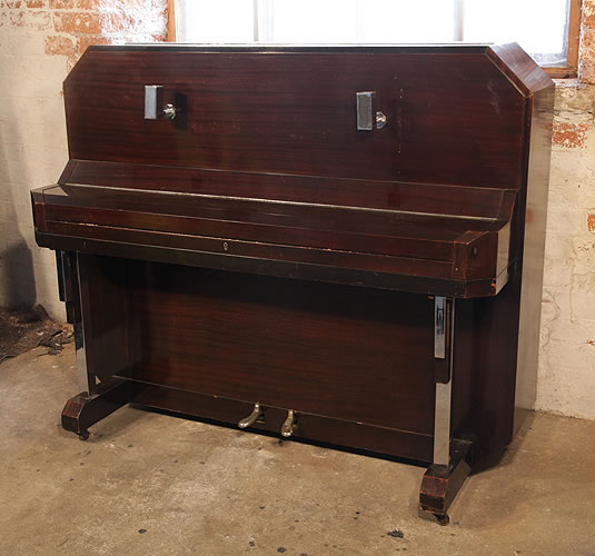 barker art deco upright piano for sale with a mahogany case and chrome fittings art cased. Black Bedroom Furniture Sets. Home Design Ideas