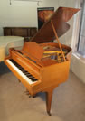 Piano for sale. A 1935, Bluthner Baby Grand Piano For Sale with a Fiddleback Mahogany Case and Square, Tapered Legs.