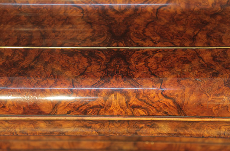 Burling & Burling mirrored, burr walnut cabinet detail