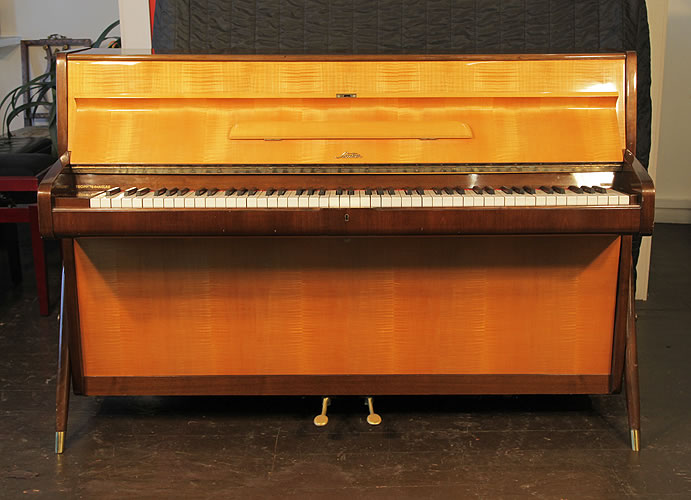 Sauter upright Piano for sale with a maple and walnut case.