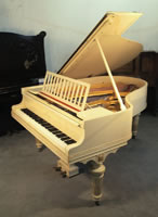 Artcase,  1916, Steinway Model O grand piano for sale with a Louis XVI style, cream case with gold beading and stringing accents.
