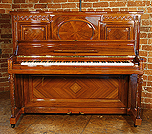 Piano for sale. A 1912, Steinway Vertegrand Upright Piano For Sale with a Quartered, Walnut Case and Fluted, Sheraton Style Legs