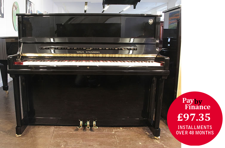 Brand New, Steinberg Model AT-K23  upright Piano for sale with a black case.