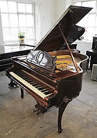 A 1941, Rococo style, August Forster Baby Grand Piano For Sale with a Rosewood Case and Cabriole Legs