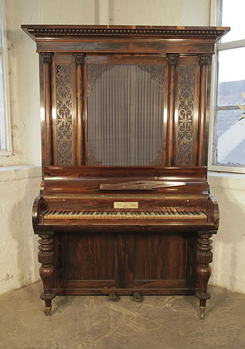 | A George Peachey upright piano for sale with a rosewood case, fretwork panels, Corinthian pilasters and baluster legs