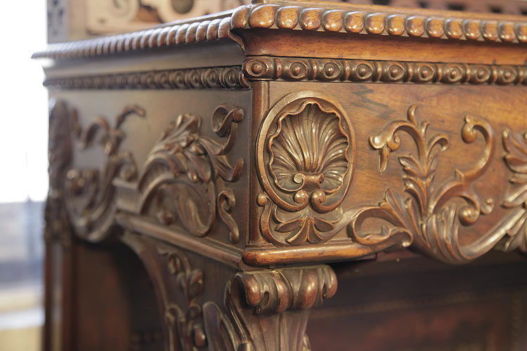Pape carved, piano cheeks with hibiscus, shells and acanthus