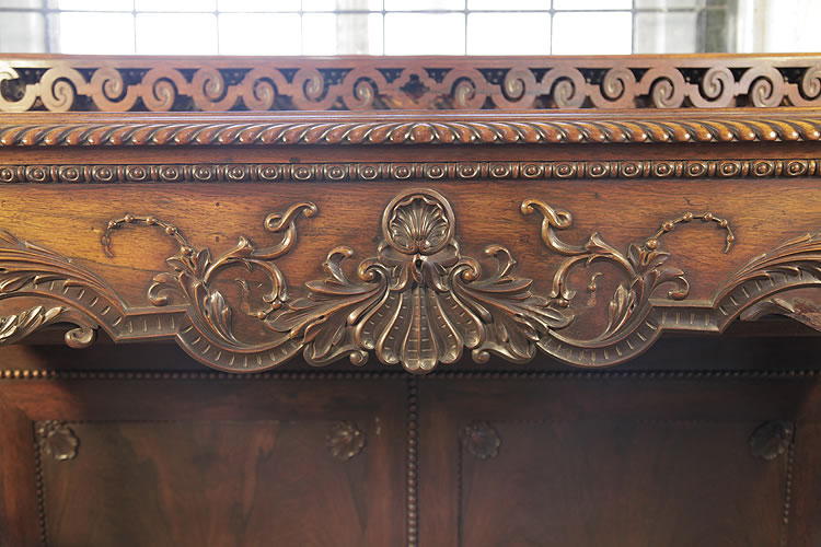 Pape piano fall detail with carved shells, acanthus, hibiscus flowers, gadrooning and beading