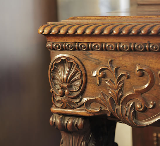Pape piano carved detail