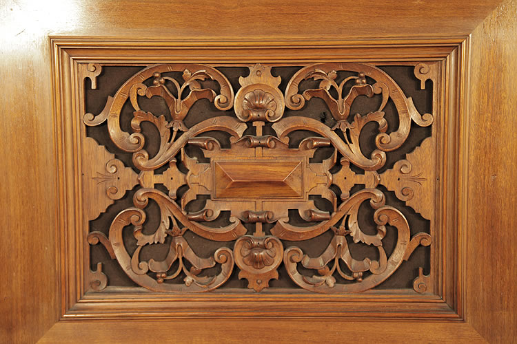 Steingraeber carved filigree panel with scrolling acanthus, shells and arabesques