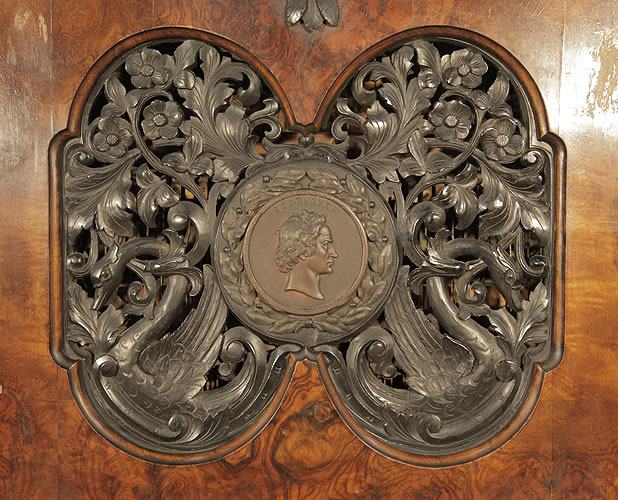 Steingraeber ornately, carved figree panel with central plaque of Beethovens head