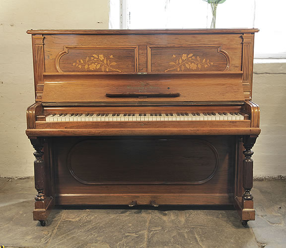 An 1896,   Steinway  Upright Piano For Sale with a Rosewood Case with Floral Inlaid Panels