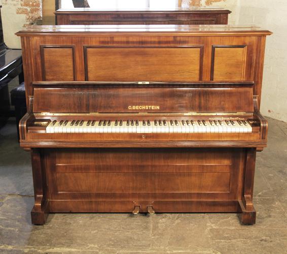 貝希斯坦(Bechstein)型號 9 立式古董鋼琴,產於1909年,紅木外殼,鋼琴有85個琴鍵和2個踏板