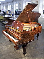 An 1882, Bechstein Model V Grand piano for sale with a burr walnut case and turned legs