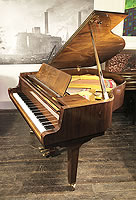 A 1990, Petrof baby grand piano with a walnut case and polyester finish
