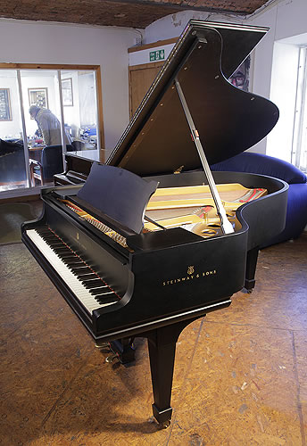 A Steinway Model O Grand piano for sale with a satin, black case  and spade legs