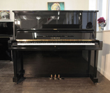 Piano for sale. A secondhand, Yamaha U3 upright piano with a black case and polyester finish.