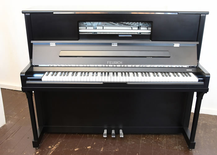 Brand New, Feurich Model 123 Upright Piano For Sale with a Satin, Black Case, LED Lighting and Chrome Fittings