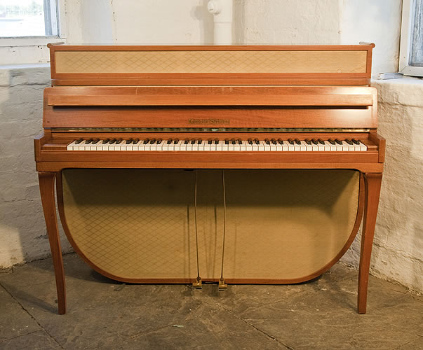A 1955, Mid Century Modern style, Grotrian Steinweg Model 110 Upright Piano For Sale with a Walnut Case and Fabric Panels