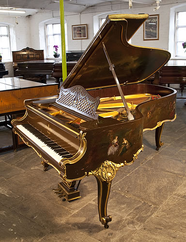 A 1904, Rococo style, Steinway Model B grand piano for sale with an ornately carved case and scroll foot cabriole legs Entire cabinet covered with hand-painted, fete galante scenes and gilt accents