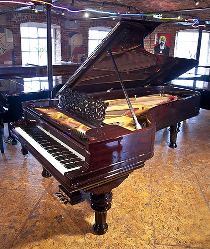An 1886, Steinway & Sons Model D Concert Grand Piano For Sale with a Rosewood Case and Turned, Fluted Legs